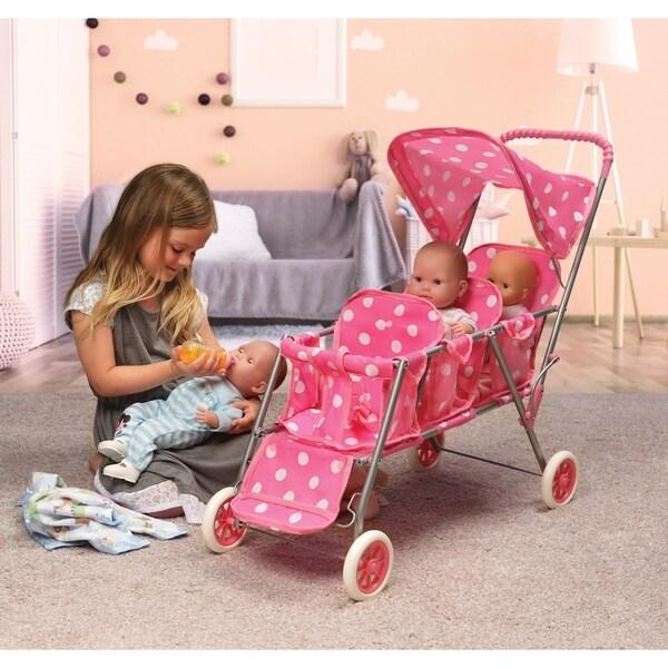 Badger Basket Folding Triple Doll Stroller - Pink/Polka Dots