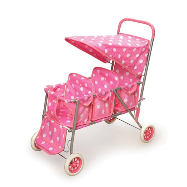 Badger Basket Pink Polka Dots Triple Doll Stroller