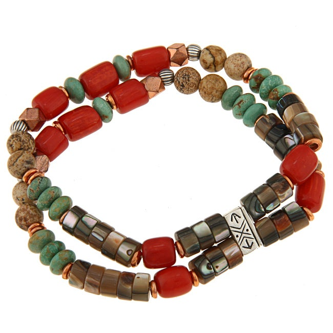 Southwest Moon Silver and Copper Multi-gemstone Stretch Bracelet - Thumbnail 0