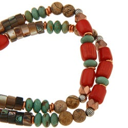 Southwest Moon Silver and Copper Multi-gemstone Stretch Bracelet - Thumbnail 1