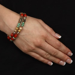 Southwest Moon Silver and Copper Multi-gemstone Stretch Bracelet - Thumbnail 2