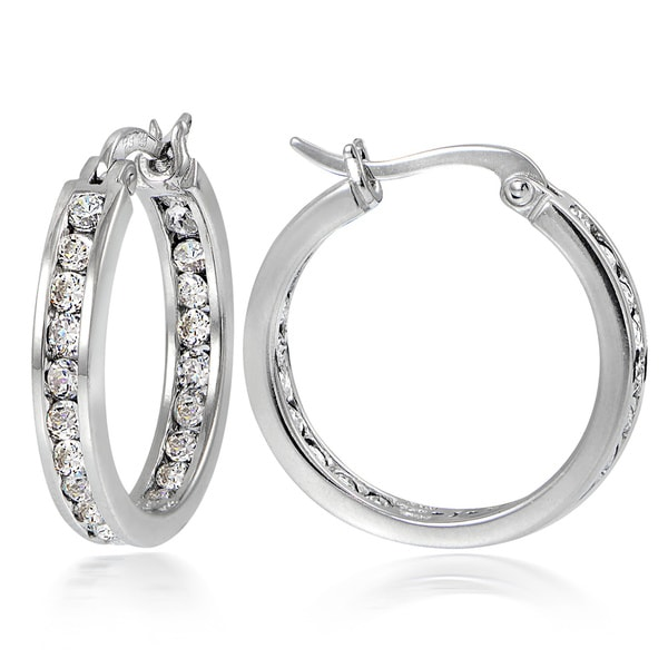 Icz Stonez Sterling Silver 2 5/8 ct TGW Cubic Zirconia Channel-set Hoop Earrings