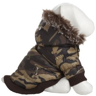 Pet Life Camouflage Thinsulate Metallic Dog Parka