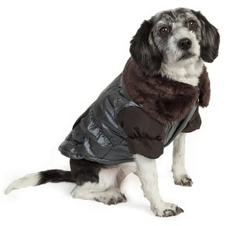 Pet Life Faux-fur Collared Polyester Dog Coat Jacket (3 options available)