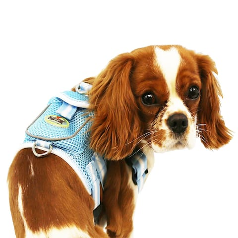 Pet Life Blue and White Adjustable Mesh Harness with Back Pouch