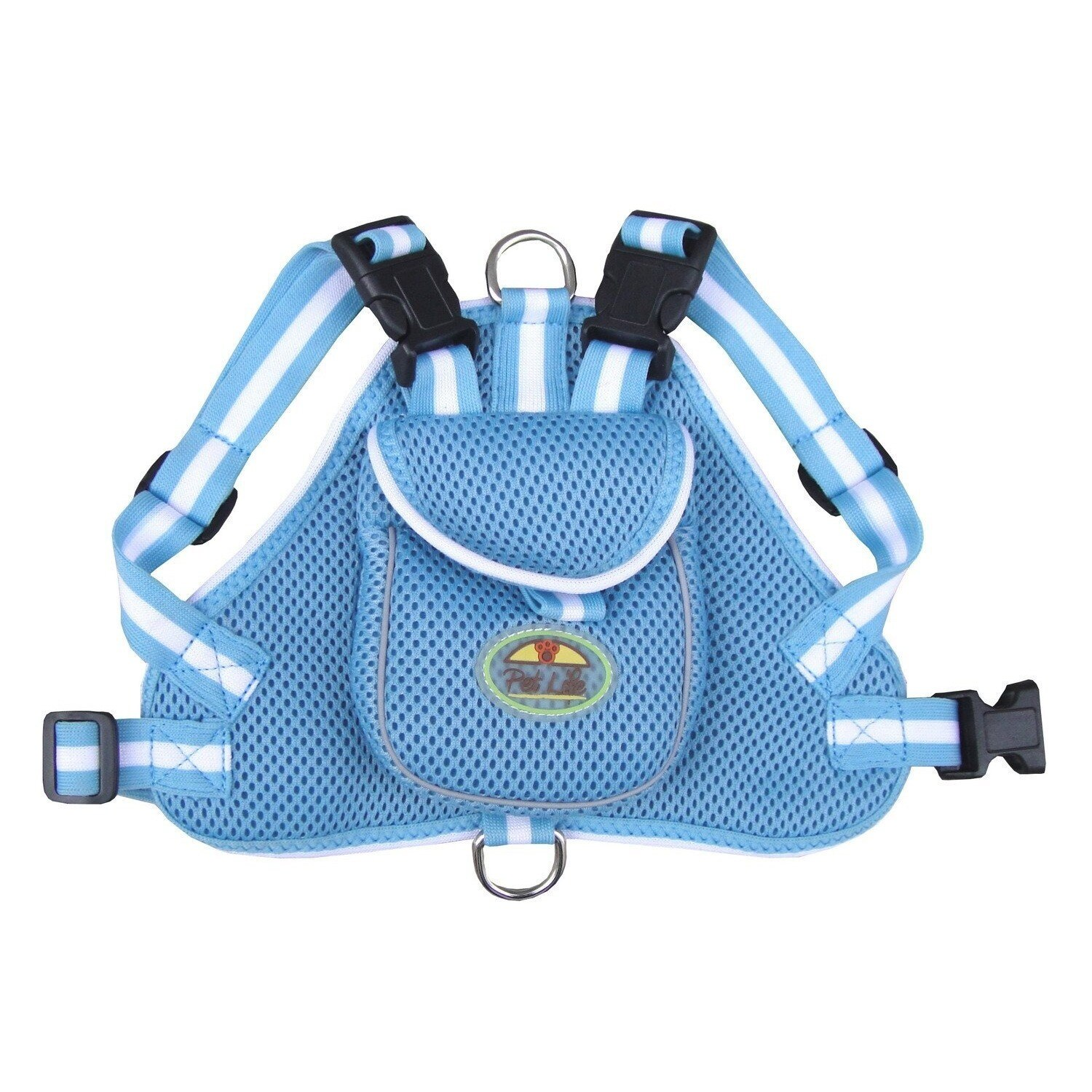 Petlife Blue and White Adjustable Mesh Harness with Back ...