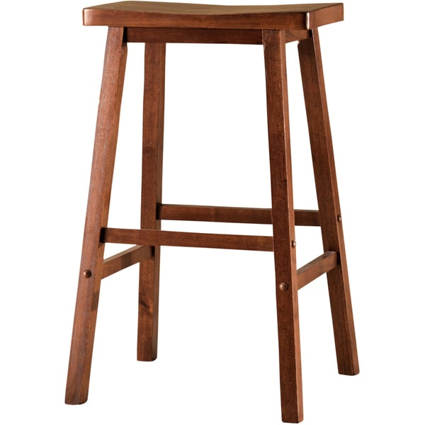 Sumatra 29-inch Walnut Finish Saddle Stool