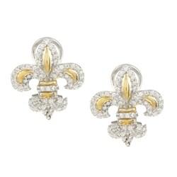 La Preciosa Sterling Silver Goldplated Fleur De Lis Cubic Zirconia Earrings