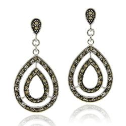 Glitzy Rocks Sterling Silver Marcasite Tear-drop Dangle Earrings