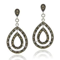Glitzy Rocks Sterling Silver Marcasite Tear-drop Dangle Earrings