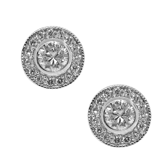 Sterling Silver Circle Clear Cubic Zirconia Stud Earrings
