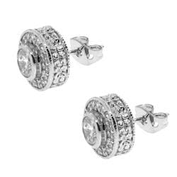 Sterling Silver Circle Clear Cubic Zirconia Stud Earrings - Thumbnail 1