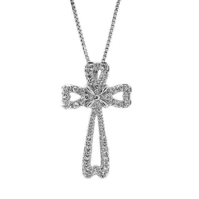 Sterling Silver Petite Sparkle Clear Cubic Zirconia Cross Necklace