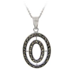 Glitzy Rocks Sterling Silver Marcasite Oval Necklace