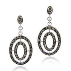 Glitzy Rocks Sterling Silver Marcasite Oval Dangle Earrings