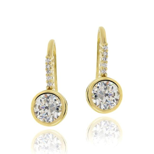 Icz Stonez 18k Gold over Silver Cubic Zirconia Dangle Earrings
