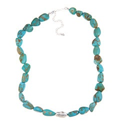 Glitzy Rocks Sterling Silver Turquoise Nugget Necklace