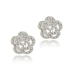 Icz Stonez Sterling Silver Cubic Zirconia Flower Earrings