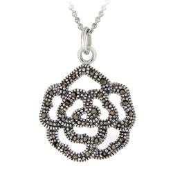 Glitzy Rocks Sterling Silver Marcasite Rose Necklace