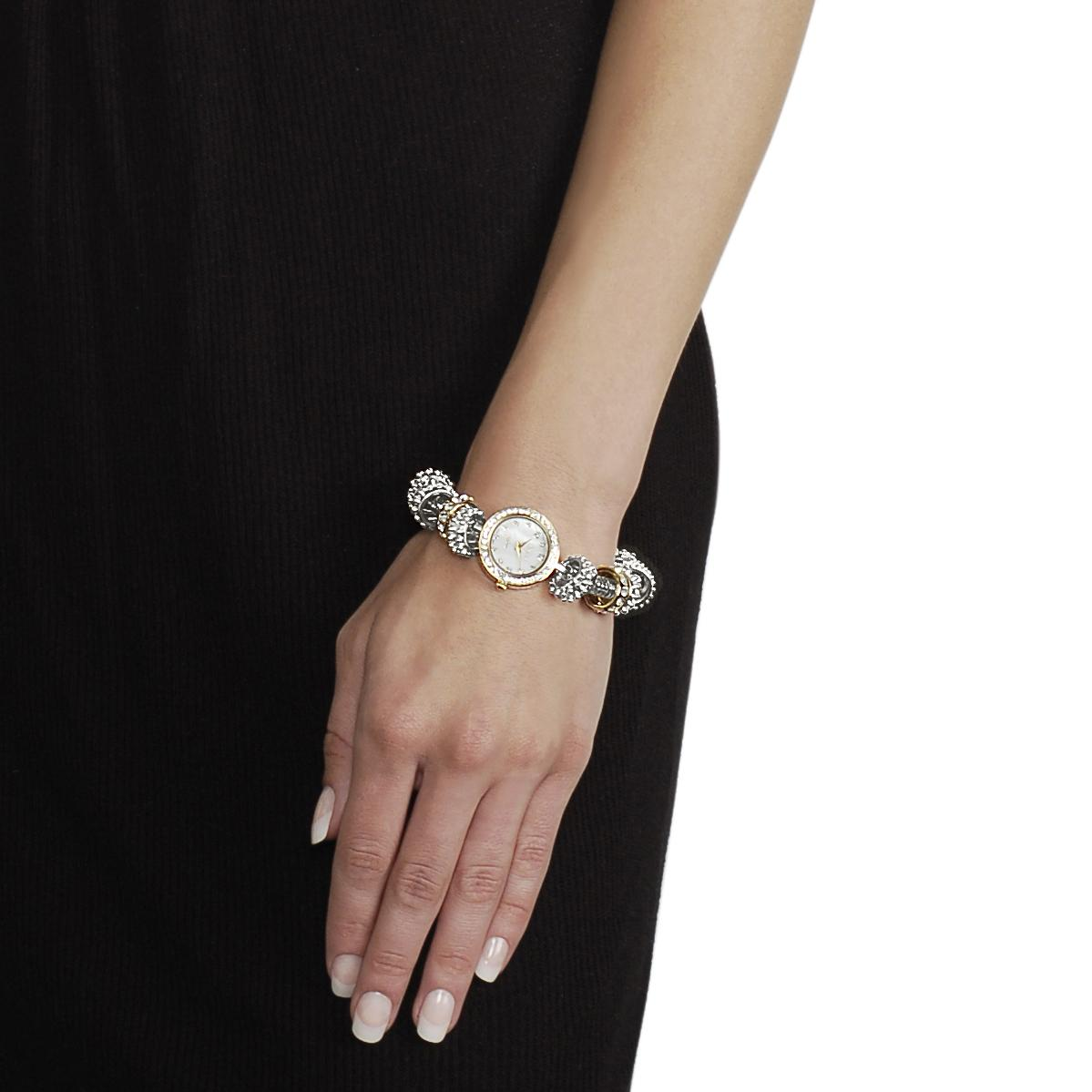 Geneva Platinum Women's Rhinestone-accented Toggle Watch - Thumbnail 2