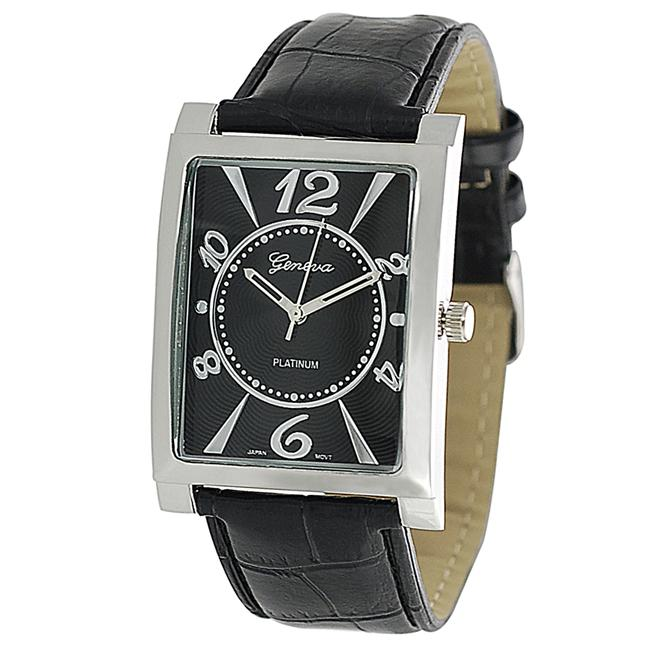 Geneva Platinum Men's Black Genuine Leather Strap Watch
