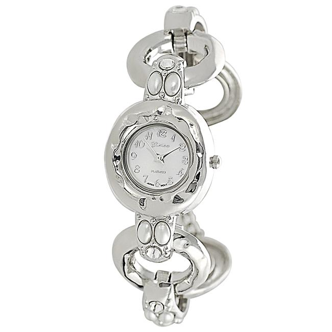 Geneva Platinum Women's Rhinestone-accented Faux Pearl Toggle Watch