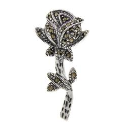 Glitzy Rocks Sterling Silver Marcasite Rose Pin