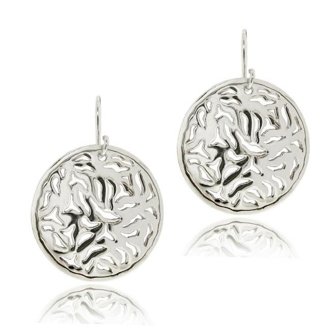 Mondevio Sterling Silver Filigree Disc Dangle Earrings