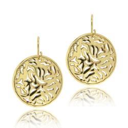 Mondevio 18k Gold over Sterling Silver Filigree Disc Dangle Earrings