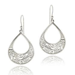 Mondevio Sterling Silver Filigree Teardrop Dangle Earrings