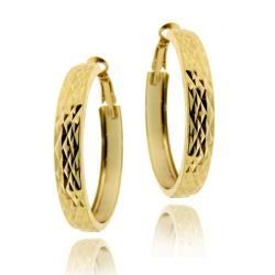 Mondevio 18k Gold over Sterling Silver Diamond-cut Hoop Earrings