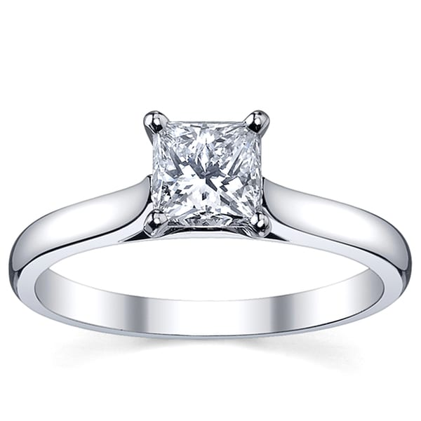Platinum 1ct TDW White Princess Diamond Solitaire Engagement Ring