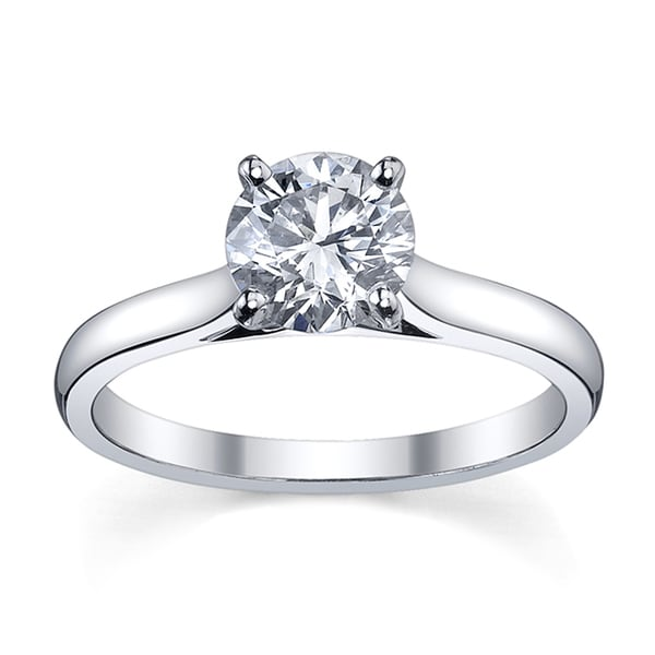 Platinum 1ct TDW Diamond Solitaire Engagement Ring (H-I, SI1-SI2)