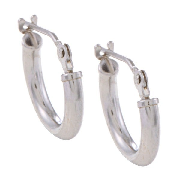 Mondevio 10k White Gold 11-mm Mini Hoop Earrings
