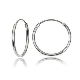 Mondevio 10k White Gold 13-mm Endless Hoop Earrings