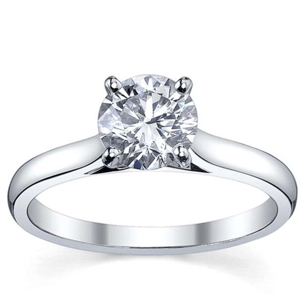 Platinum 3/4ct TDW Diamond Solitaire Engagement Ring (H-I, SI1-SI2)