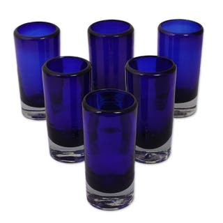 Handmade Set of 6 Blown Glass 'Pure Cobalt' Shot Glasses (Mexico)|https://ak1.ostkcdn.com/images/products/5971304/P13664360.jpg?impolicy=medium