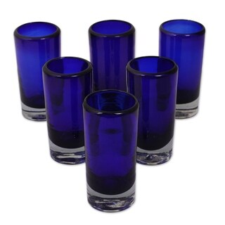 Handmade Set of 6 Blown Glass 'Pure Cobalt' Shot Glasses (Mexico)