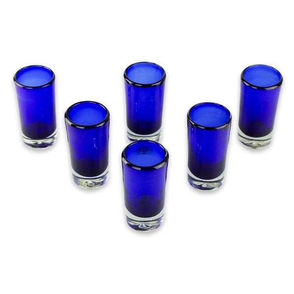 Handmade Set of 6 Blown Glass 'Pure Cobalt' Shot Glasses (Mexico)