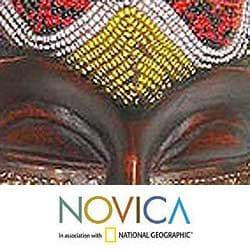 Wood 'Beaded Krobo Maiden' Mask (Ghana) - Thumbnail 2