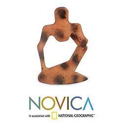 Wood 'Abstract Thinker' Sculpture (Ghana) - Thumbnail 1