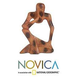 Wood 'Abstract Thinker' Sculpture (Ghana)