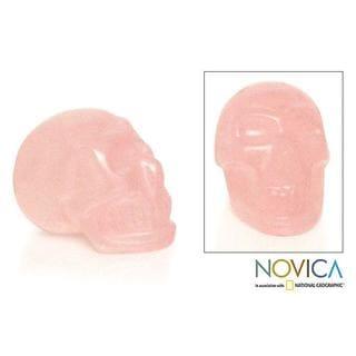Handmade Rose Quartz 'Pink Skull' Statuette (Brazil)