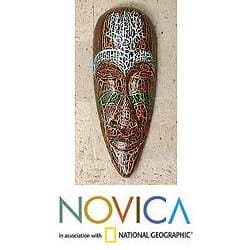 Albesia Wood 'Exotic Emerald' Mask (Indonesia)