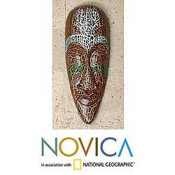 Handmade Albesia Wood 'Exotic Emerald' Mask (Indonesia)
