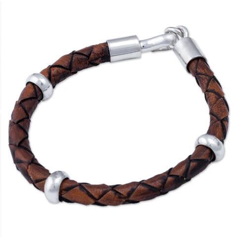 "Handmade Men's Chankas Warrior Leather Sterling Silver Bracelet (Peru) - 0.3"" x 8.75"""