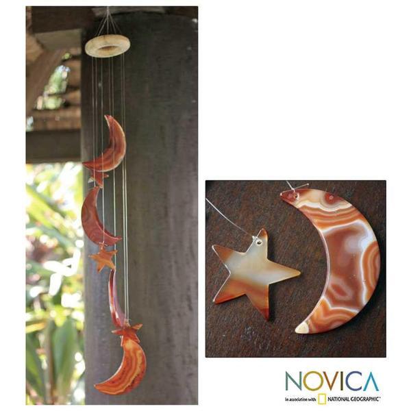 Handmade Orange Agate 'Moon and Stars' Wind Chimes (Brazil)
