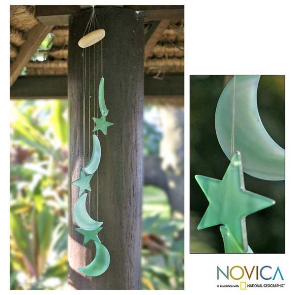 Handmade Green Agate 'Moon and Stars' Wind Chimes (Brazil)
