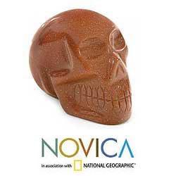 Goldstone 'Sun Skull' Sculpture (Brazil)