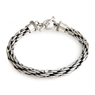 Courage Unique Handmade Toggle Clasp Open Link Woven Oxidized and Polished 925 Sterling Silver Mens Bracelet (Indonesia)